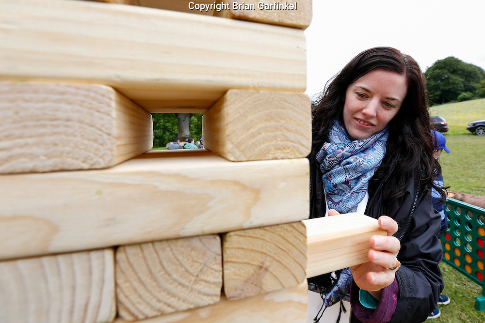 Allison plays Jenga at the Caulfield/Mulryan family reunion at Ardenode Stud, County Kildare, Ireland on Sunday, June 23rd 2013. (Photo by Brian Garfinkel)