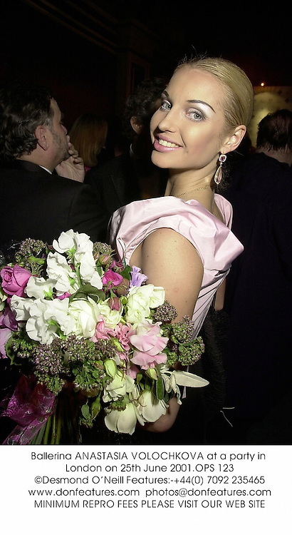 Ballerina ANASTASIA VOLOCHKOVA at a party in London on 25th June 2001.		OPS 123