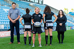 (Left to Right ) Representatives from Jurrasic Kitchens with Patricia Garcia, Susie Appleby, Garnet MacKinder attend a Sponsors evening to announce their shirt sponsorship for Exeter Chiefs Women - Mandatory by-line: Ryan Hiscott/JMP - 17/09/2020 - RUGBY - Sandy Park - Exeter, England - Exeter Chiefs Women - Shirt Sponsors Evening