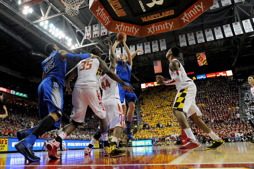 16 February 2013:   Duke Blue Devils forward Mason Plumlee (5) in action against Maryland Terrapins center Shaquille Cleare (44) at the Comcast Center in College Park, MD. where the Maryland Terrapins upset the second ranked Duke Blue Devils, 83-81.