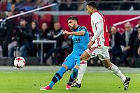 AMSTERDAM - 05-04-2017, Ajax - AZ, Stadion Arena, AZ speler Alireza Jahanbakhsh, Ajax speler Kenny Tete