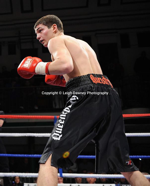 Super Featherweight Billy Morgan (pictured) defeats Robin Deakin at York Hall, Bethnal Green, London on the 19th February 2011. Frank Warren Promotions. Photo credit © Leigh Dawney.