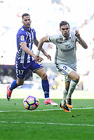 Real Madrid's Pepe and Deportivo Alaves's Edgar Mendez during La Liga match between Real Madrid and Deportivo Alaves at Stadium Santiago Bernabeu in Madrid, Spain. April 02, 2017. (ALTERPHOTOS/BorjaB.Hojas)