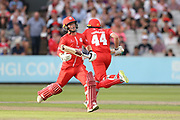 Lancashires James Falkner & Lancashires Alex Davies during the Vitality T20 Blast North Group match between Lancashire Lightning and Leicestershire Foxes at the Emirates, Old Trafford, Manchester, United Kingdom on 3 August 2018. Picture by George Franks.