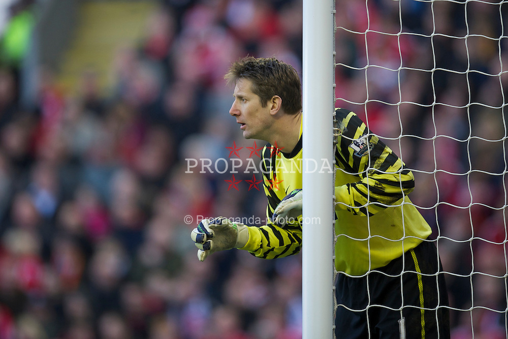 LIVERPOOL, ENGLAND - Sunday, March 6, 2011: Manchester United's goalkeeper Edwin van der Sar in action against Liverpool during the Premiership match at Anfield. (Photo by David Rawcliffe/Propaganda)