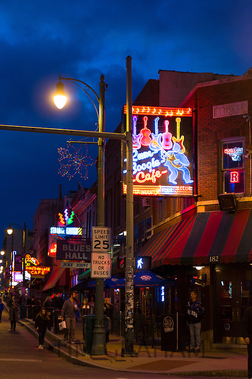Boogie cafe diner, music venues in Beale Street entertainment district famous for Rock and Roll and Blues, Memphis, Tennessee