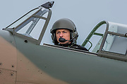 TA Hurricane piloit taxis his palne out - he Duxford Battle of Britain Air Show is a finale to the centenary of the Royal Air Force (RAF) with a celebration of 100 years of RAF history and a vision of its innovative future capability.