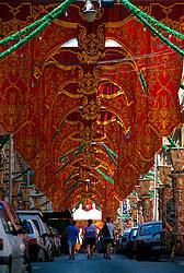 MALTA VALETTA JUL00 - A narrow backstreet in the old part of Valetta is decorated for the upcoming Fiesta of St. Julian.....jre/Photo by Jiri Rezac....© Jiri Rezac 2000....Tel:   +44 (0) 7050 110 417..Email: info@jirirezac.com..Web:   www.jirirezac.com
