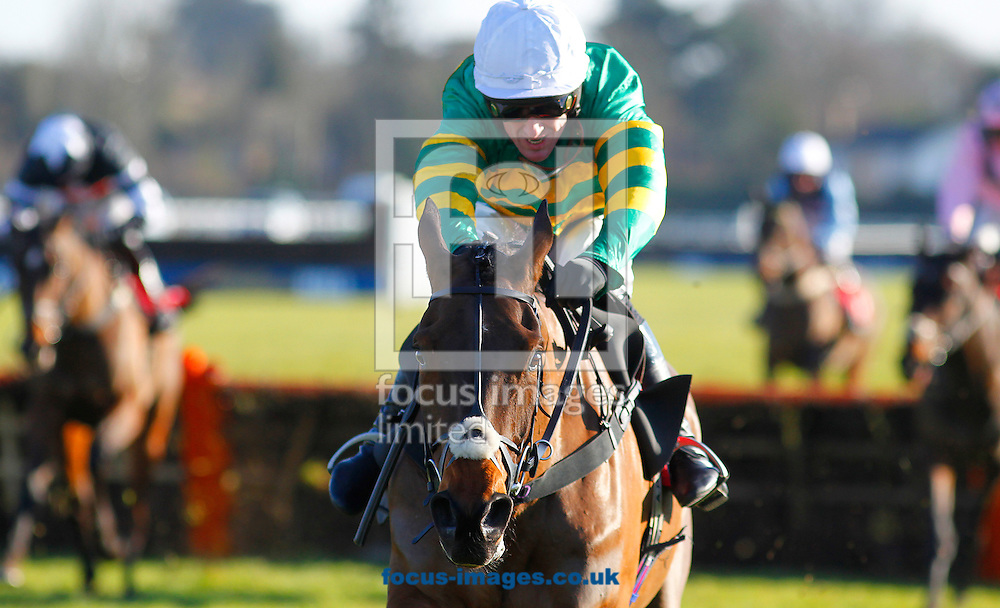 A P McCoy riding Minella Rocco winning the New Racing UK iPad App Novices' Hurdle at Kempton Park, Sunbury<br /> Picture by John Hoy/Focus Images Ltd +44 7516660607<br /> 06/02/2015