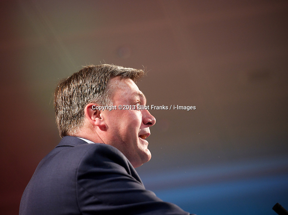 Ed Balls during his speech at Thompson Reuters, London, United Kingdom, <br /> Monday, 3rd June 2013<br /> Picture by Elliot Franks / i-Images