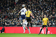Fernando Llorente of Tottenham Hotspur beats David Pipe of Newport County to a header during the The FA Cup fourth round replay match between Tottenham Hotspur and Newport County at Wembley Stadium, London, England on 6 February 2018. Picture by Toyin Oshodi.