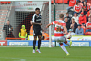 James Horsfield of Doncaster Rovers takes free kick during the Sky Bet League 1 match between Doncaster Rovers and Barnsley at the Keepmoat Stadium, Doncaster, England on 3 October 2015. Photo by Ian Lyall.