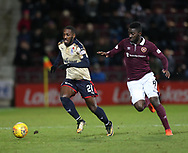 12th December 2017, Tynecastle Park, Edinburgh, Scotland; Scottish Premier League football,  Heart of Midlothian versus Dundee; Dundee's Roarie Deacon and Hearts' Prince Buaben