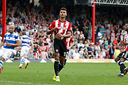 Brentford Forward Ollie Watkins (11) has his penalty stopped by QPR goalkeeper Matt Ingram (13) during the EFL Sky Bet Championship match between Brentford and Queens Park Rangers at Griffin Park, London, England on 21 April 2018. Picture by Andy Walter.