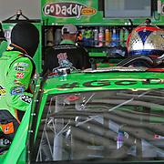 NASCAR Sprint Cup driver Danica Patrick enters her race car in the garage area, during a NASCAR Daytona 500 practice session at Daytona International Speedway on Wednesday, February 20, 2013 in Daytona Beach, Florida.  (AP Photo/Alex Menendez)
