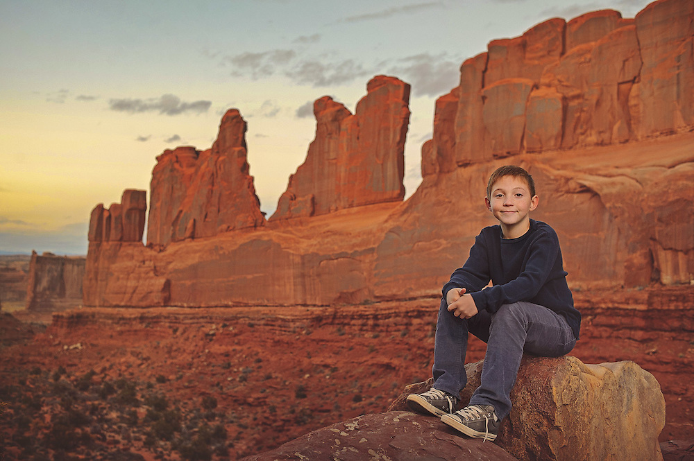 Dusk at Arches National Park.  Image shot with the Profoto B2 and the Nikon D750.