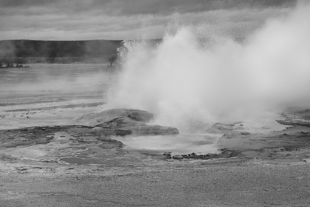 Geyser Pool And Storm Clouds - Yellowstone National Park - Black & White