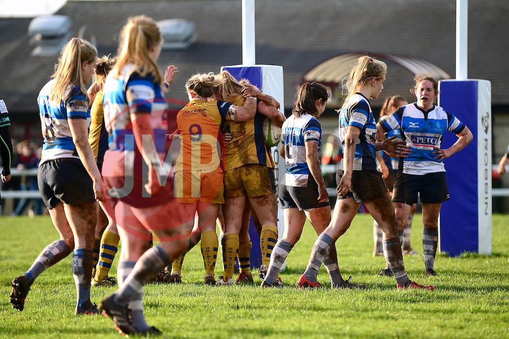 Abbie Parsons of Bristol Ladies celebrates her try with team mates - Mandatory by-line: Dougie Allward/JMP - 11/12/2016 - RUGBY - Cleve RFC - Bristol, England - Bristol Ladies v Darlington Mowden Park Ladies - RFU Women's Premiership