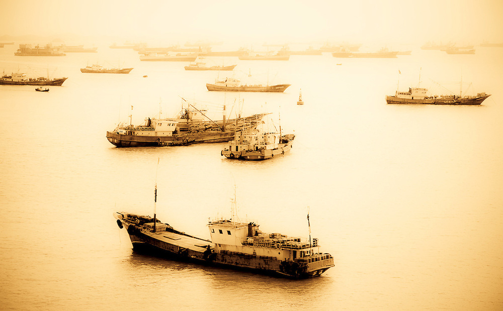 Chinese fishing boats in harbor