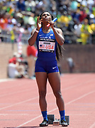 Apr 28, 2018; Philadelphia, PA, USA; Aaliyah Brown (USA) reacts before the start of the USA vs. The World women's 4 x 100m relay during the 124th Penn Relays at Franklin Field.