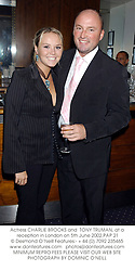 Actress CHARLIE BROOKS and  TONY TRUMAN, at a reception in London on 5th June 2002.PAP 21