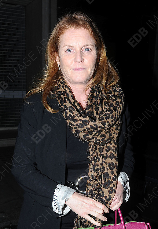 08.MARCH.2012. LONDON<br /> <br /> SARAH FERGUSON LEAVING THE ARTS PRIVATE MEMBERS CLUB IN MAYFAIR, LONDON<br /> <br /> BYLINE: EDBIMAGEARCHIVE.COM<br /> <br /> *THIS IMAGE IS STRICTLY FOR UK NEWSPAPERS AND MAGAZINES ONLY*<br /> *FOR WORLD WIDE SALES AND WEB USE PLEASE CONTACT EDBIMAGEARCHIVE - 0208 954 5968*