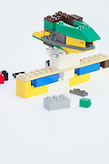 Lego building block on white background