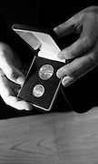 Presentation of New Decimal Coins to Charlie Haughey TD, Minister for Finance, by Dr. T. K. Whitaker, Governor of the Central Bank, at Fitzwilton House..A close-up of the new 10p and 5p coins, which replaced the old 2 shilling and 1 shilling coins..03.09.1969, T.K. Whitaker,