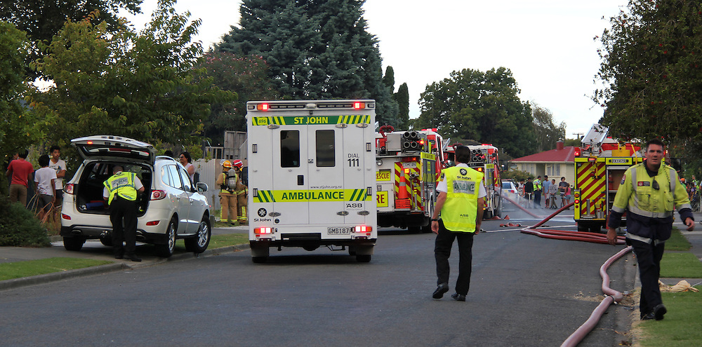 Police and Fire crews attended a house fire in Richmond Road, Maraenui, which is believed started following an explosion, Napier, New Zealand, Tuesday, March 25, 2014. It is believed the police had been showing an interest in the property for several weeks. Credit:SNPA / Daniel Fraser