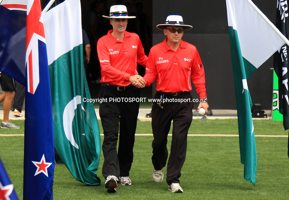 Umpires Billy Bowden and Barry Frost. Twenty20 International Cricket match between The New Zealand Black Caps and Pakistan at Eden Park on Boxing Day, Sunday 26 December 2010. Photo: Andrew Cornaga/photosport.co.nz