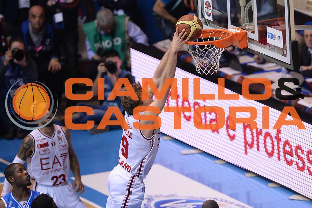 DESCRIZIONE : Final Eight Coppa Italia 2015 Finale Olimpia EA7 Emporio Armani Milano - Dinamo Banco di Sardegna Sassari <br /> GIOCATORE : Nicolo' Melli<br /> CATEGORIA : Schiacciata<br /> SQUADRA : EA7 Emporio Armani Milano<br /> EVENTO : Final Eight Coppa Italia 2015 <br /> GARA : Olimpia EA7 Emporio Armani Milano - Dinamo Banco di Sardegna Sassari <br /> DATA : 22/02/2015 <br /> SPORT : Pallacanestro <br /> AUTORE : Agenzia Ciamillo-Castoria/M.Longo