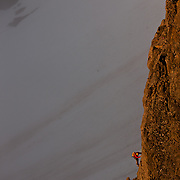 Jökull Bergmann climbing on Kerlingareldur 5.9, 200m, Kerling 1114m. Iceland.