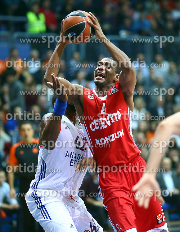 03.12.2015, KC Drazen Petrovic, Zagreb, CRO, FIBA, EL, KK Cedevita vs Anadolu Efes Istanbul, Gruppe B, 8. Runde, im Bild James White // during the group B, 8th round match of the Turkish Airlines Basketball Euroleague between KK Cedevita and Anadolu Efes Istanbul at the KC Drazen Petrovic in Zagreb, Croatia on 2015/12/03. EXPA Pictures &copy; 2015, PhotoCredit: EXPA/ Pixsell/ Slavko Midzor<br /> <br /> *****ATTENTION - for AUT, SLO, SUI, SWE, ITA, FRA only*****