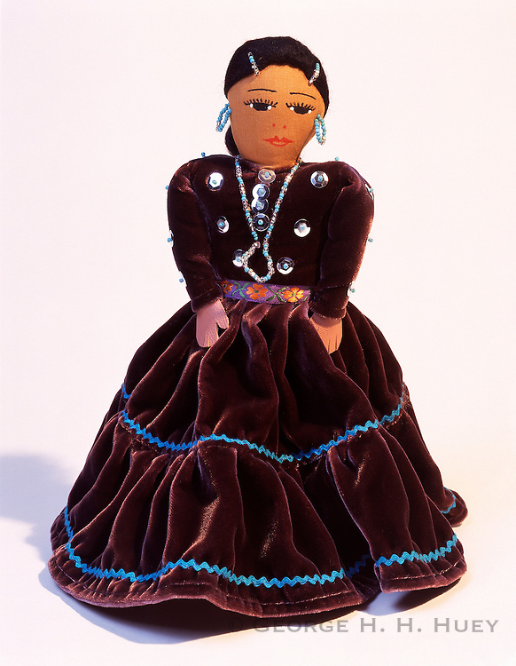 0194-1002B  ~  Copyright: George H.H. Huey ~ Cloth doll.  Made by Navajo Indian, Pearl Joe. Native American folk art.  Arizona.