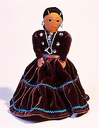 0194-1002B  ~  Copyright: George H.H. Huey ~ Cloth doll.  Made by Navajo Indian, Pearl Joe. Native American folk art.  Arizona.