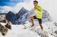 Jason Dorais heads toward Salt Lake Twin Peaks after an early season coat of snow has fallen in the Wasatch Mountains, Utah. toward Salt Lake Twin Peaks after an early season coat of snow has fallen in the Wasatch Mountains, Utah.