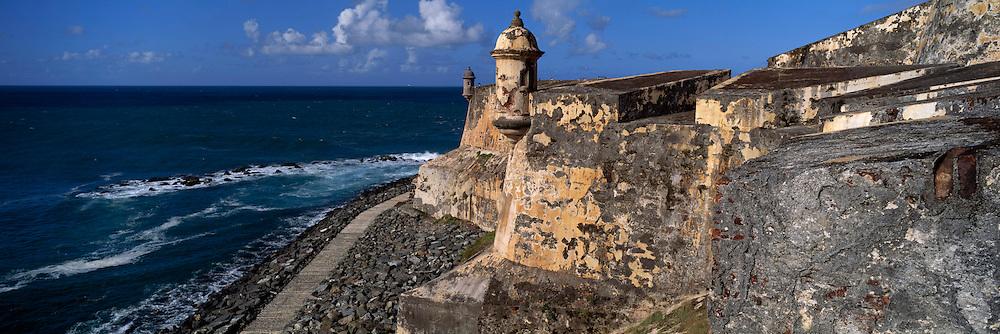 PUERTO RICO, SAN JUAN El Morro fortress, walls and watch tower