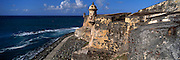 PUERTO RICO, SAN JUAN El Morro fortress, walls and watch tower