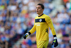 WIGAN, ENGLAND - Sunday, July 17, 2016: Wigan Athletic's goalkeeper Lee Nicholls in action against Liverpool during a pre-season friendly match at the DW Stadium. (Pic by David Rawcliffe/Propaganda)