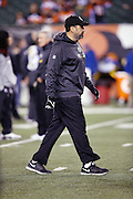 Pittsburgh Steelers offensive coordinator Todd Haley watches pregame warmups before the NFL AFC Wild Card playoff football game against the Cincinnati Bengals on Saturday, Jan. 9, 2016 in Cincinnati. The Steelers won the game 18-16. (©Paul Anthony Spinelli)