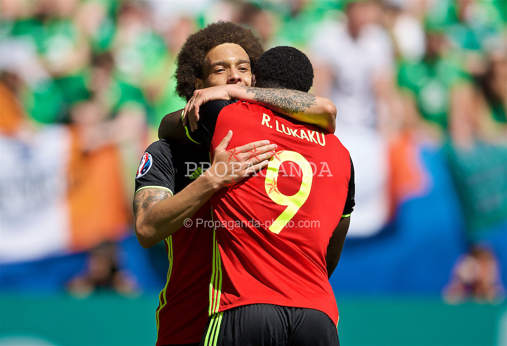 BORDEAUX, FRANCE - Saturday, June 18, 2016: Belgium's Axel Witsel celebrates scoring his first goal with Romelu Lukaku to make the score 2-0 during the UEFA Euro 2016 Championship Group E match against Republic of Ireland at Stade de Bordeaux. (Pic by Paul Greenwood/Propaganda)