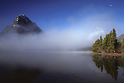 Sun, Fog, Swiftcurrent Lake, Glacier National Park, Montana