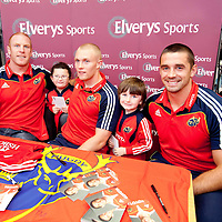 NEW MUNSTER RUGBY JERSEY   Robyn  and Ben Gallagher, Fr Russell Road, Limerick with Munster?s Paul O'Connell, Keithh Earls and Alan Quinlanat the official adidas in-store launch of the new adidas Munster jersey in Elvery's, Crescent Shopping Centre, Limerick.. - Photo: Kieran Clancy / PicSure   29/8/09<br /> ©<br />  For further information please contact<br /> work(01) 6690136<br /> 0876601908<br /> Greg.Keane@ogilvy.com<br /> <br /> kieran@picsure.ie         087-2532015