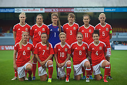 CARDIFF, WALES - Friday, August 19, 2016: Wales players line up for a team group photograph before the international friendly match against Republic of Ireland at Rodney Parade. Back row L-R: Rhiannon Roberts, Kayleigh Green, goalkeeper Claire Skinner, Gemma Evans, Melissa Fletcher, captain Sophie Ingle. Front row L-R: Kylie Davies, Natasha Harding, Jessica Fishlock, Rachel Rowe, Angharad James. (Pic by Laura Malkin/Propaganda)
