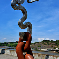 Abstract Maritime Sculpture on Grattan Quay in Waterford, Ireland <br />