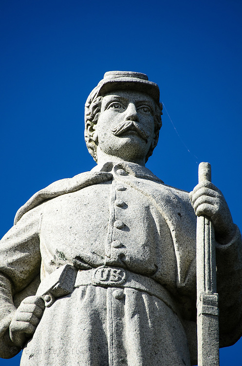 Granite statue of a Union soldier on a Civil War monument, Bar Harbor, Maine
