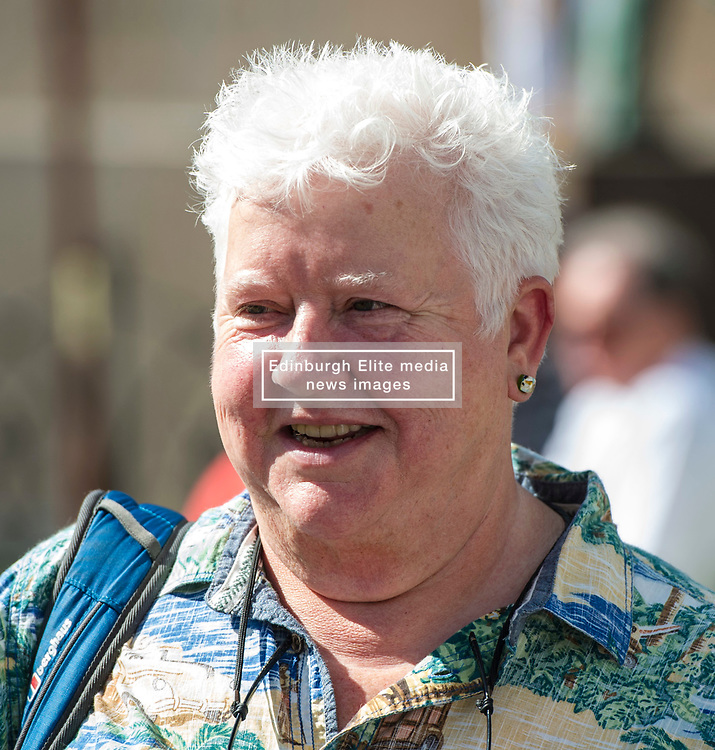 Pictured: Val McDermid FRSE, FRSL is a Scottish crime writer, best known for a series of suspense novels featuring Dr. Tony Hill.<br /> Book fanatics headed to Charlotte Square in Edinburgh which is the hub of the international Book Festival to meet the authors and also to meet up with fellow fans of the printed word.<br /> <br /> <br /> Ger Harley | EEm 17 August 2017