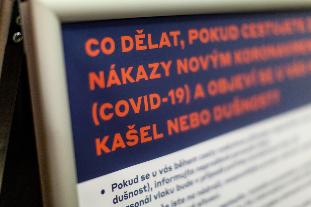 Prague Main Railway Station (Hlavni Nadrazi) during an early Wednesday morning. A warning sign and how to behave instructions after the Coronavirus pandemic (COVID-19) outbreak - pictured on the 11th of March 2020.