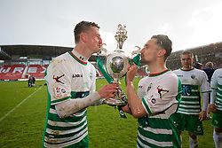 WREXHAM, WALES - Monday, May 2, 2016: The New Saints' goal-scorers Scott Quigley and Ryan Brobbel celebrate by kissing the trophy after the 2-0 victory over Airbus UK Broughton during the 129th Welsh Cup Final at the Racecourse Ground. (Pic by David Rawcliffe/Propaganda)