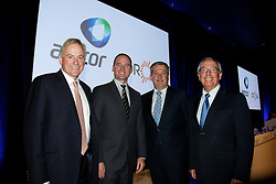 Amcor EGM and GM to discuss and vote on the demerger of Amcor and Orora. At the Melbourne Convention and Exhibition Centre. New Amcor Chairman Graeme Liebelt, CEO Amcor Ken MacKenzie, CEO Orora Nigel Garrard, Out going Amcor<br /> Chairman, New Orora Chairman, Chris Roberts,